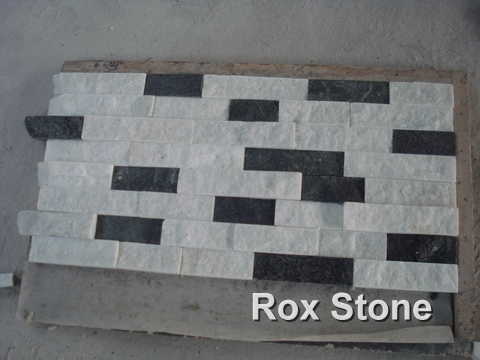 White and Black Quartzite Cultured Stone