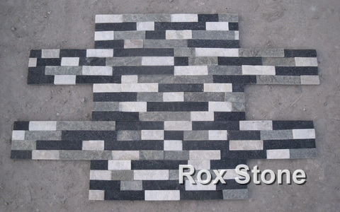Black White Grey Quartzite Cladding Stone Veneer