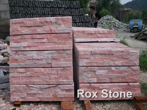 Red Color Quartzite Ledge Wall Cladding Stone