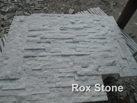 Pure White Quartzite stacked stone veneer