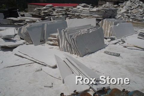 Flamed White Quartzite Slabs